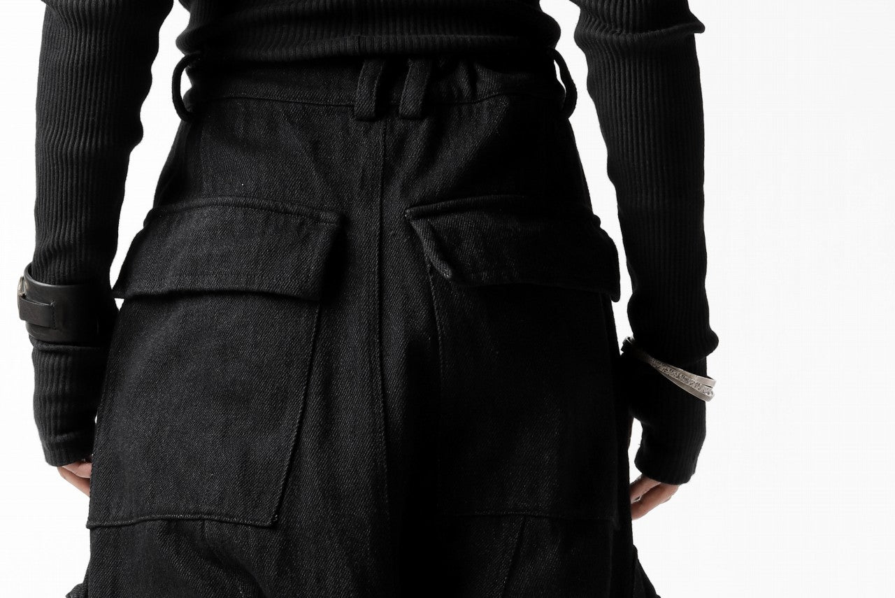 A.F ARTEFACT HEAVY CROTCH CARGO PANTS / LOW COUNT DENIM (BLACK)