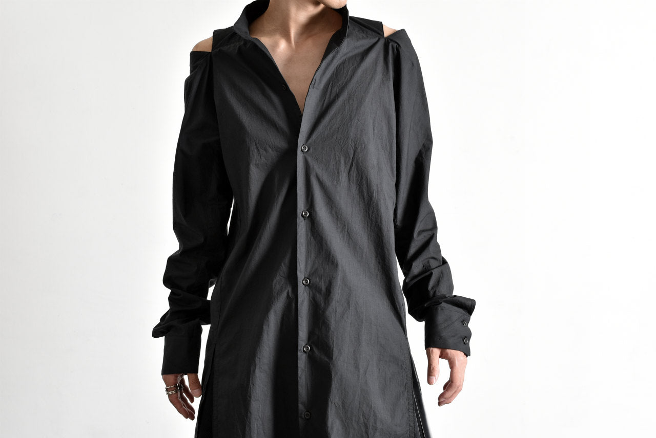 "N/07 ""MAUSK Detail"" SLIT-SHOULDER LONG SHIRT (BLACK)"