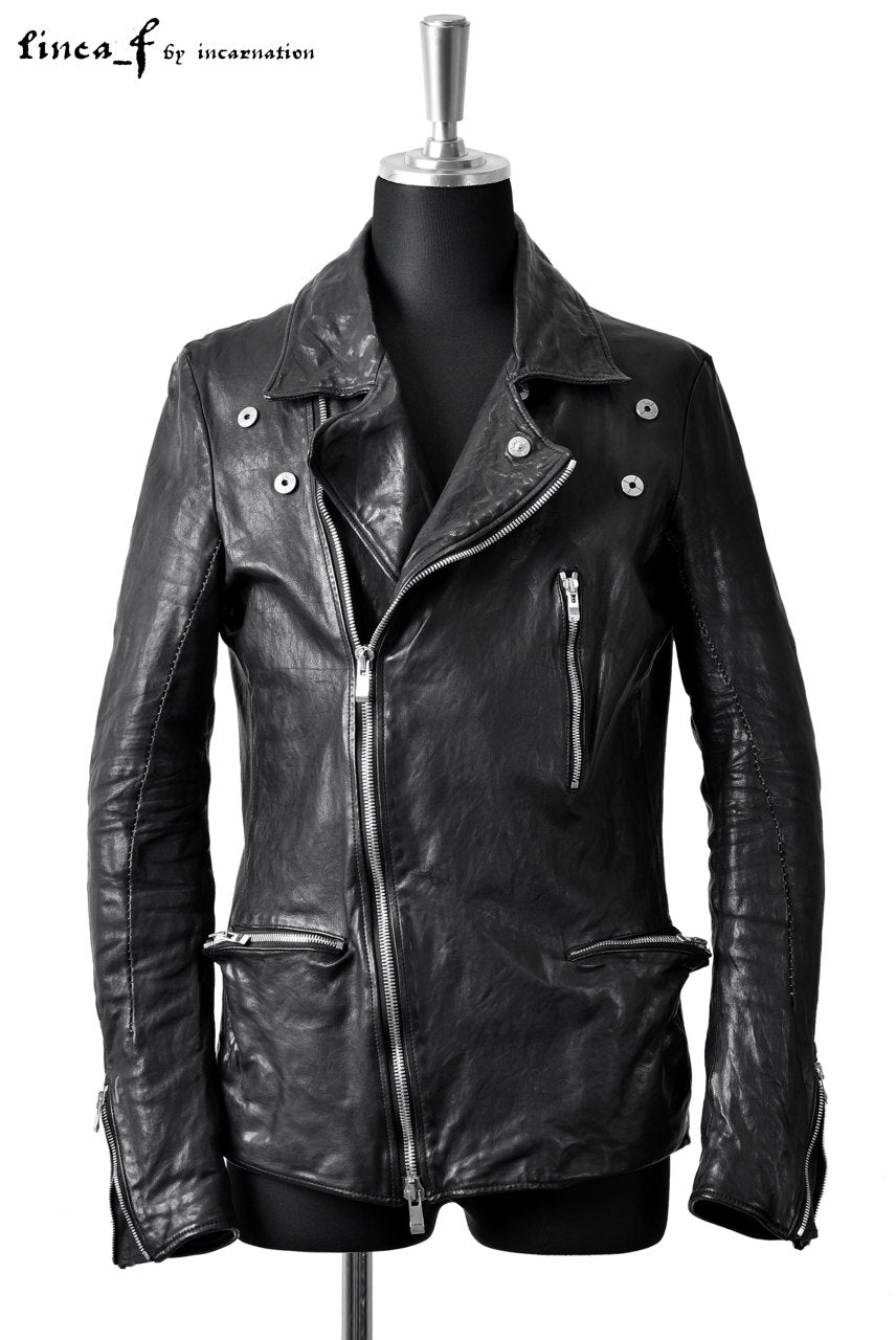 LINEA_F by incarnation DOUBLE BREAST MOTO JACKET / CALF LEATHER