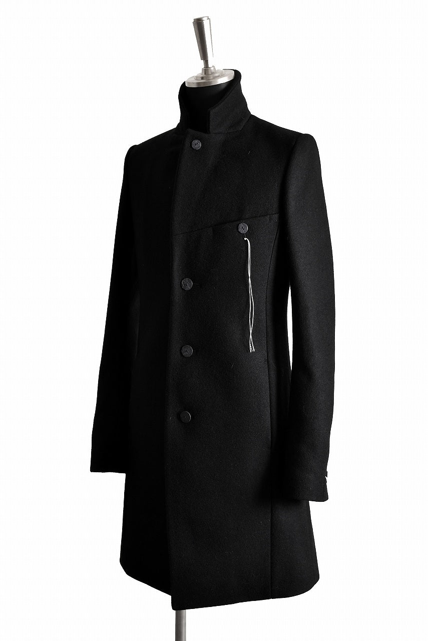 "画像をギャラリービューアに読み込む, N/07 ""MAUSK Detail"" exclusive ""PLATINUM MELTON"" FOLDING NECK CHESTER COAT (BLACK)"