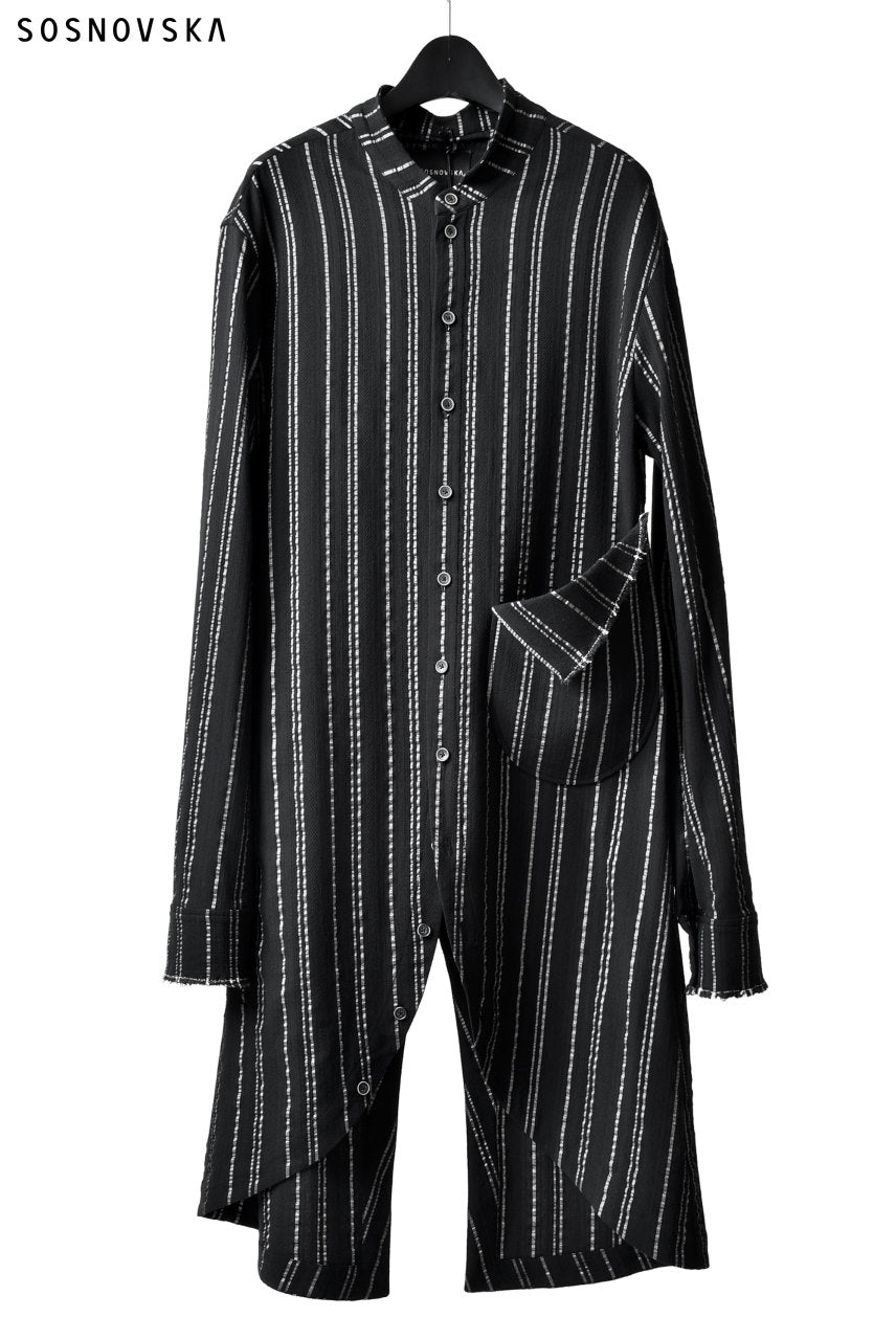 画像をギャラリービューアに読み込む, SOSNOVSKA LONG STRIPED SHIRT (BLACK×SILVER STRIPE)