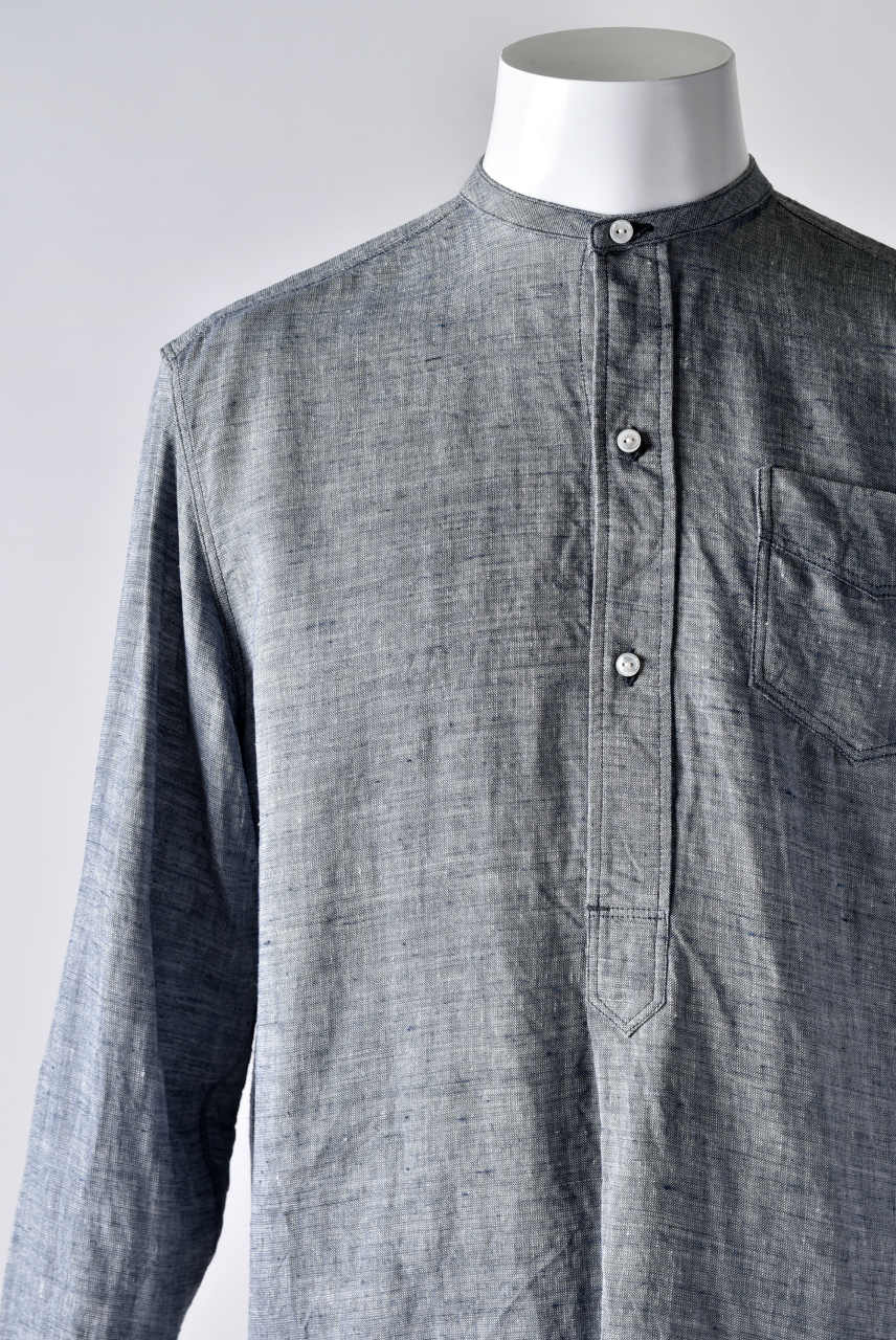 sus-sous band collar chambray shirt (BLUE)