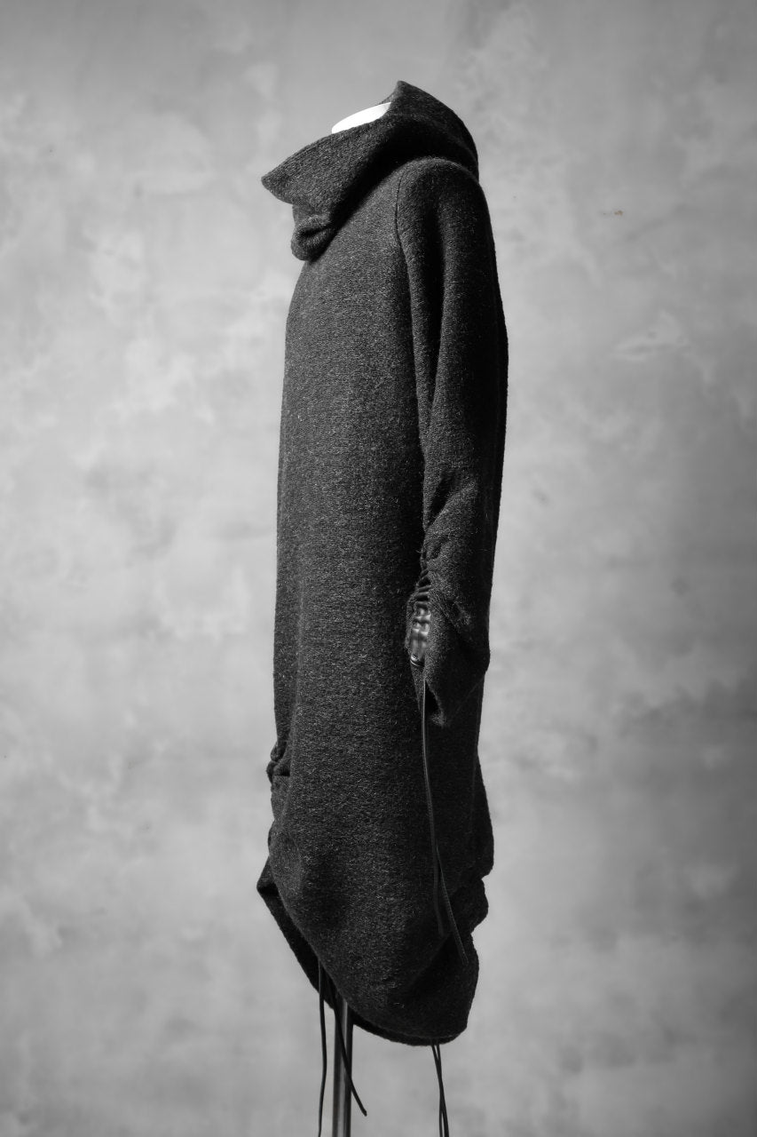 SOSNOVSKA exclusive DRAPED COCOON LONGSLEEVE HOODIE KNIT  (GREY)