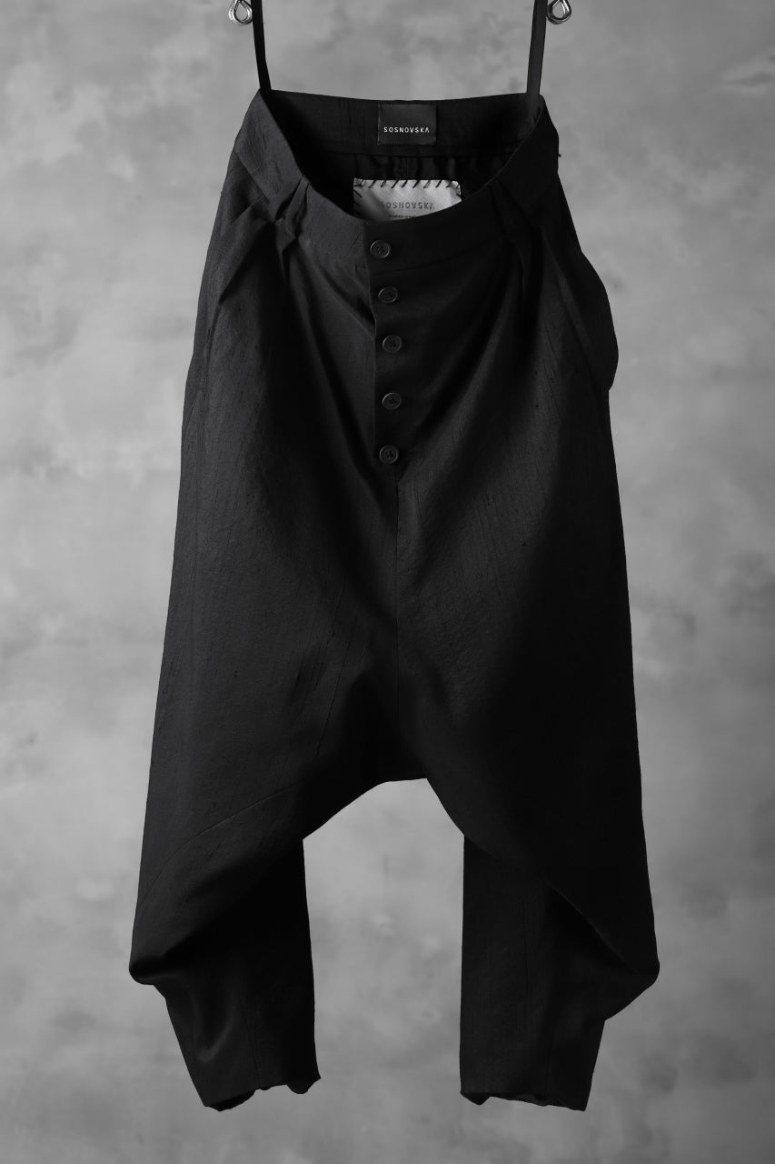 画像をギャラリービューアに読み込む, SOSNOVSKA exclusive NARROW CLOWN PANTS / SCRATCHED SILK (BLACK)