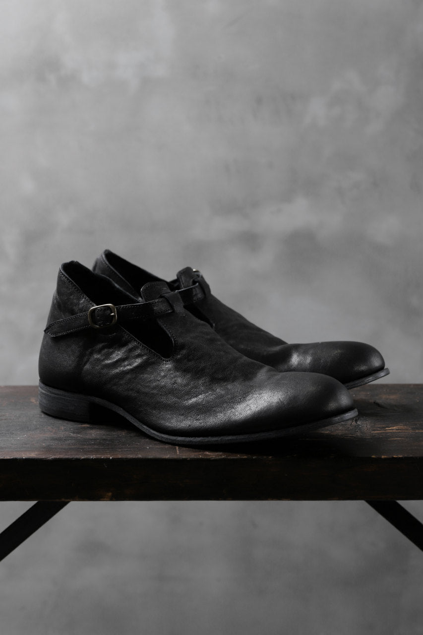 "Portaille ""one make"" Strap Shoes (Heat Shrink Horse Leather / BLACK)"