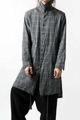 A.F ARTEFACT CHECK LONG SHIRT / COLD DYED (GREY CHECK)