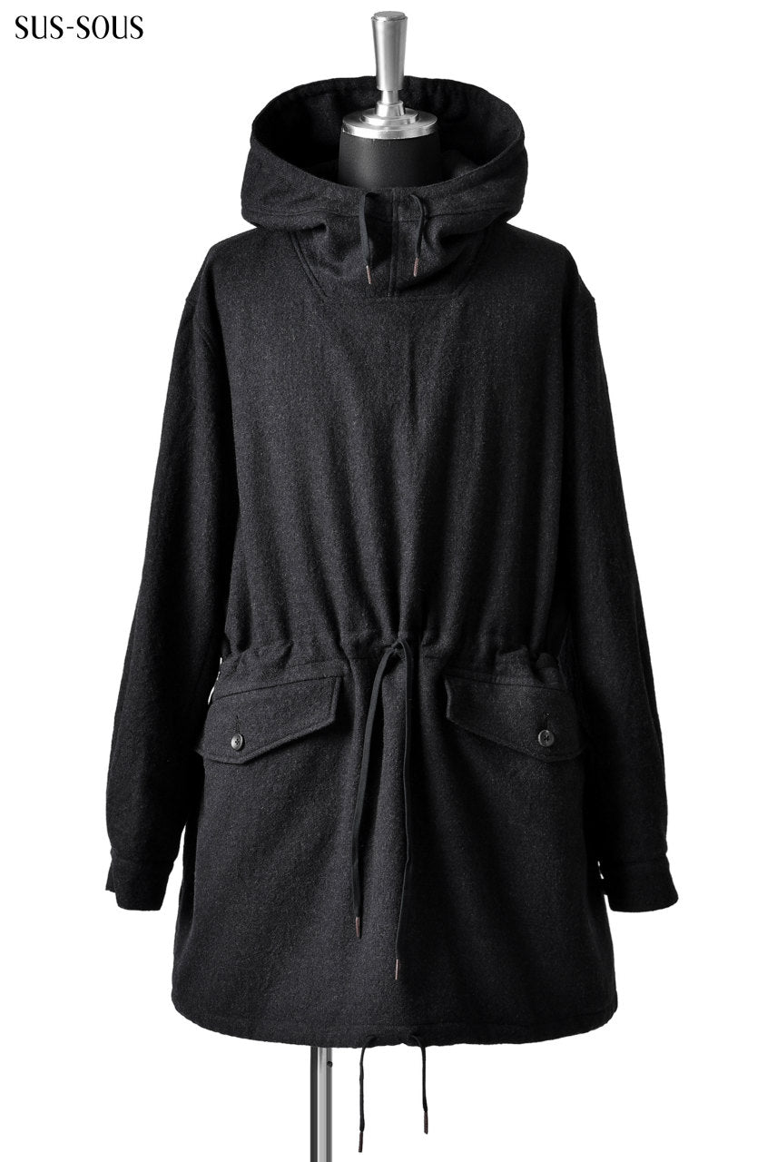 sus-sous anorak middle coat / sharkskin wool (DEEP NAVY)