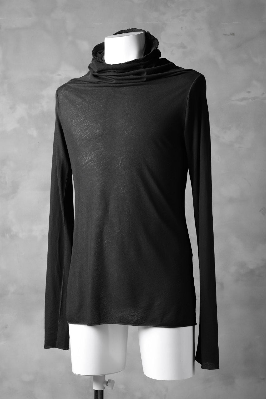 RUNDHOLZ DIP DRAPE TURTLE NECK LONG SLEEVE TEE (CARBON DYED)