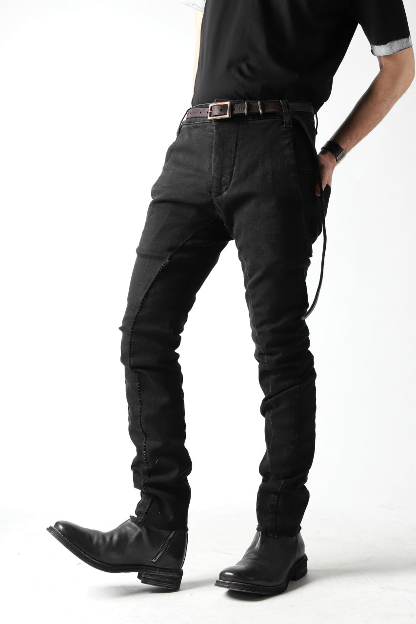 thomkrom OVER LOCKED SLIM TROUSERS / FADE STRETCH DENIM (BLACK)