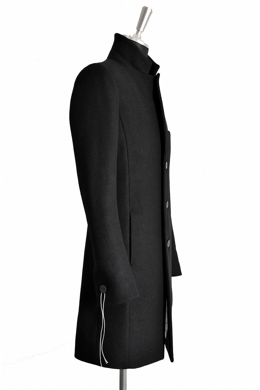 "N/07 ""MAUSK Detail"" exclusive ""PLATINUM MELTON"" FOLDING NECK CHESTER COAT (BLACK)"