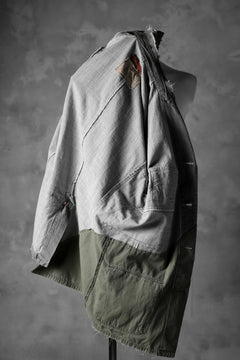Load image into Gallery viewer, RESURRECTION HANDMADE combination denim coverall jacket (GREY×ARMY)