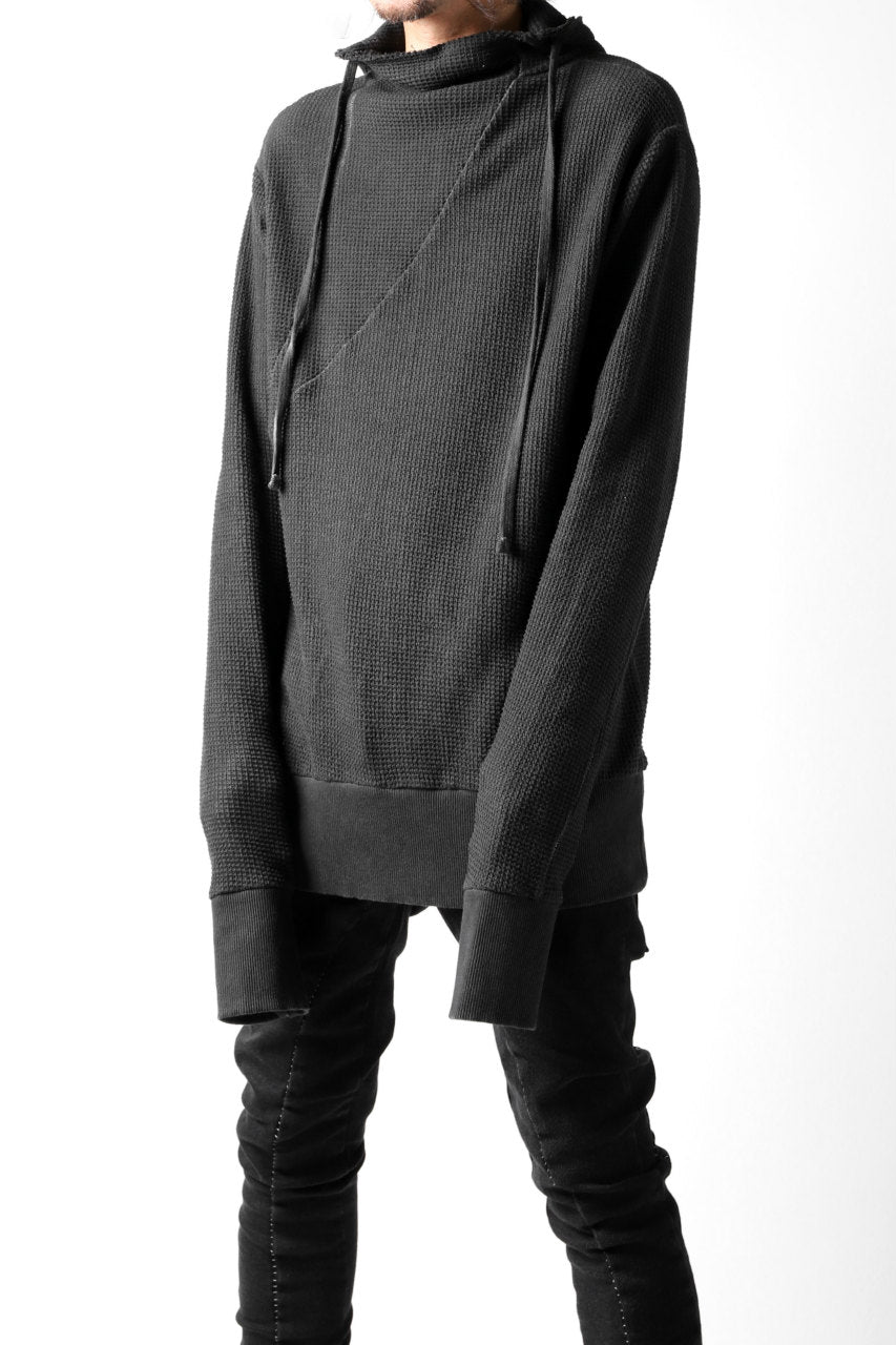 thomkrom WAFFLE HOODIE PULLOVER PARKA / OILED SPRAY DYE (BLACK)