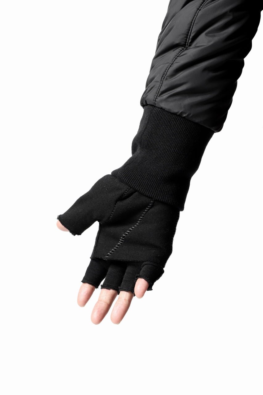 Load image into Gallery viewer, thomkrom LAYERED FINGER GLOVES / JERSEY OVERLOCKED (BLACK)