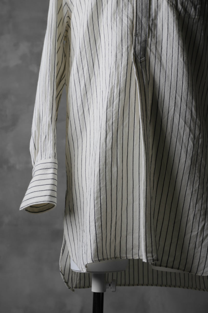 sus-sous band collar shirt / W52L48 Herringbone stripe (NATURAL×NAVY)