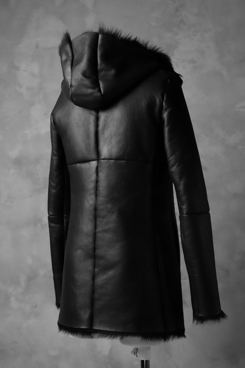 ierib exclusive hooded half coat / toscana baby sheep shearling mouton (BLACK)