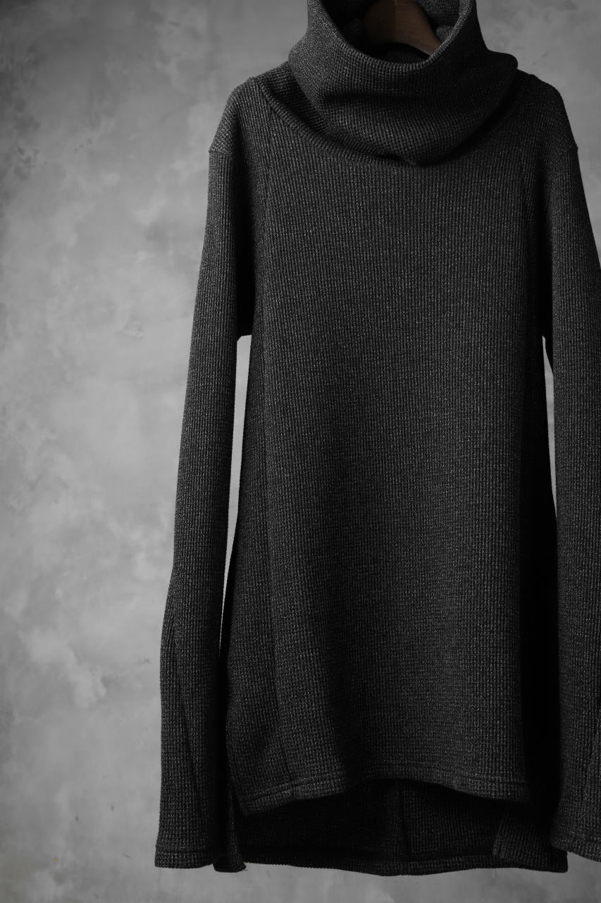 A.F ARTEFACT exclusive DUSTY WAFFLE DRAPED HIGH NECK TOPS (MELANGE BLACK)