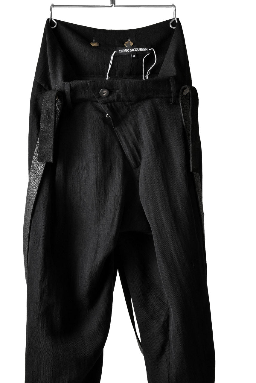 CEDRIC JACQUEMYN TWISTED PLEAT PANTS WITH SUSPENDERS (BLACK)