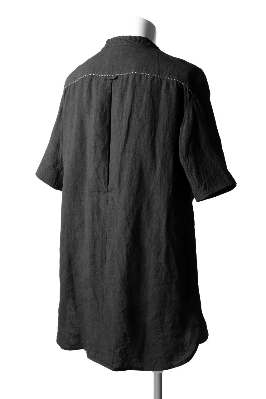 daska exclusive (tirel) cock shirt / sun-dried linen (BLACK)