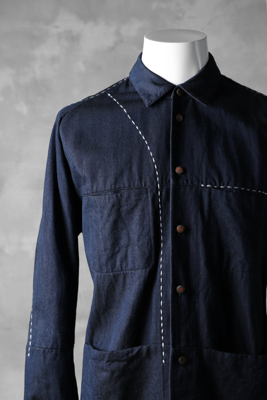 "daska ""NOBLE"" stitchwork shirt / tencel denim (INDIGO)"