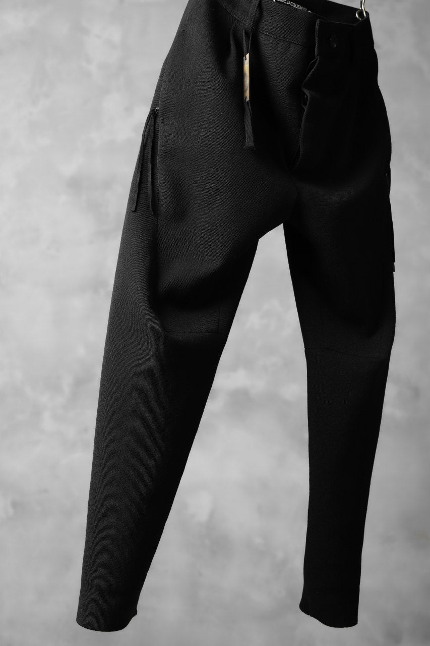 画像をギャラリービューアに読み込む, CEDRIC JACQUEMYN  PLEATED RIBBED DECOUP PANTS / VIRGIN WOOL (BLACK)