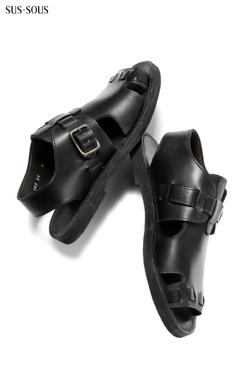 Load image into Gallery viewer, sus-sous sandal shoes / italy oiled cow leather *hand dyed (BLACK BROWN)
