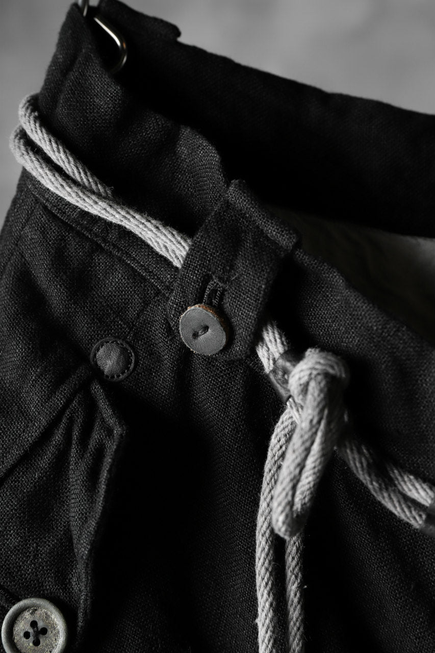 "daska ""d-25"" cargo pocket pants / combi linen (BLACK + GREY)"