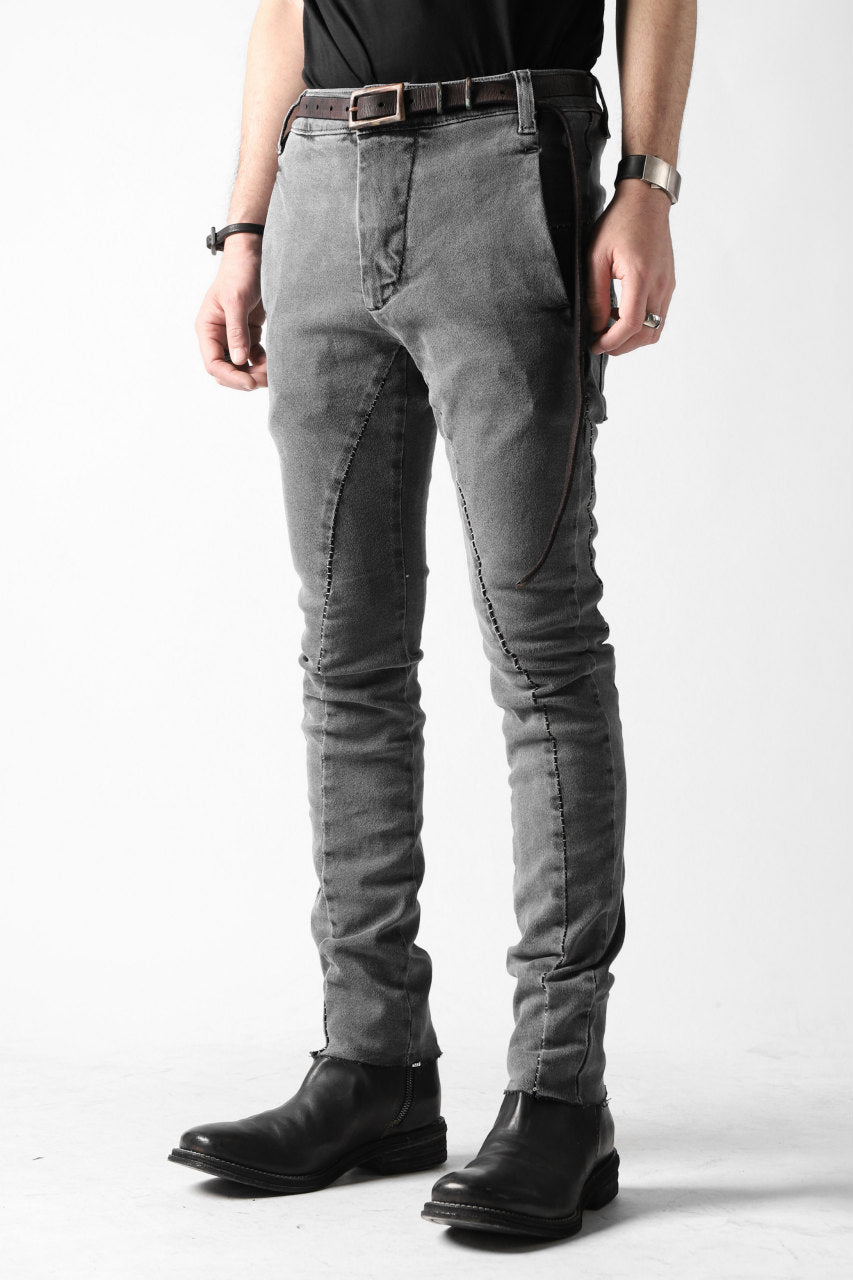 thomkrom OVER LOCKED SLIM TROUSERS / FADE STRETCH DENIM (LIGHT GREY)