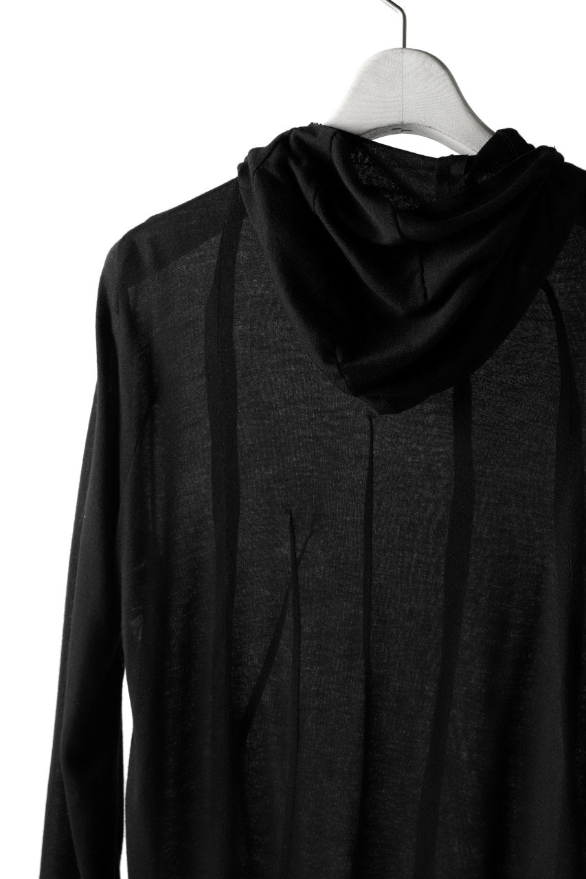 LEON EMANUEL BLANCK DISTORTION HOODY LONG SLEEVE TOP / BAMBOO JERSEY (BLACK)