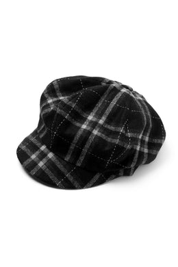 der antagonist. HAND CRAFTED CASQUETTE (SOFT WOOL / BLACK CHECK)