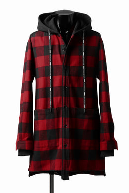 DEFORMATER.® HOODED SHIRT JACKET / HEAVY FLANNEL PLAID (RED×BLACK)