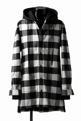 DEFORMATER.® HOODED SHIRT JACKET / HEAVY FLANNEL PLAID (WHITE×BLACK)