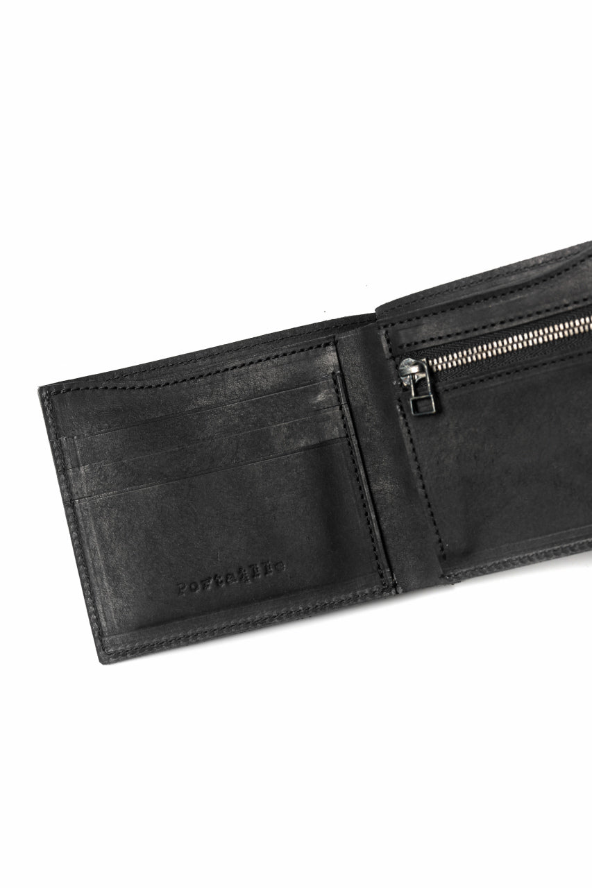 "Portaille ""Atelier Made"" exclusive BI-FOLD WALLET / PUEBLO by Badalassi Carlo (BLACK)"