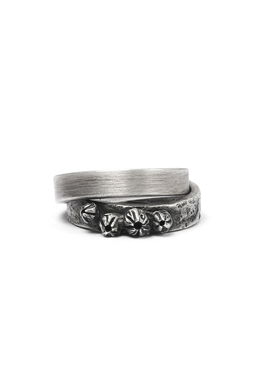 Holzpuppe Barnacle Double Banded Silver Ring (HR-1224)