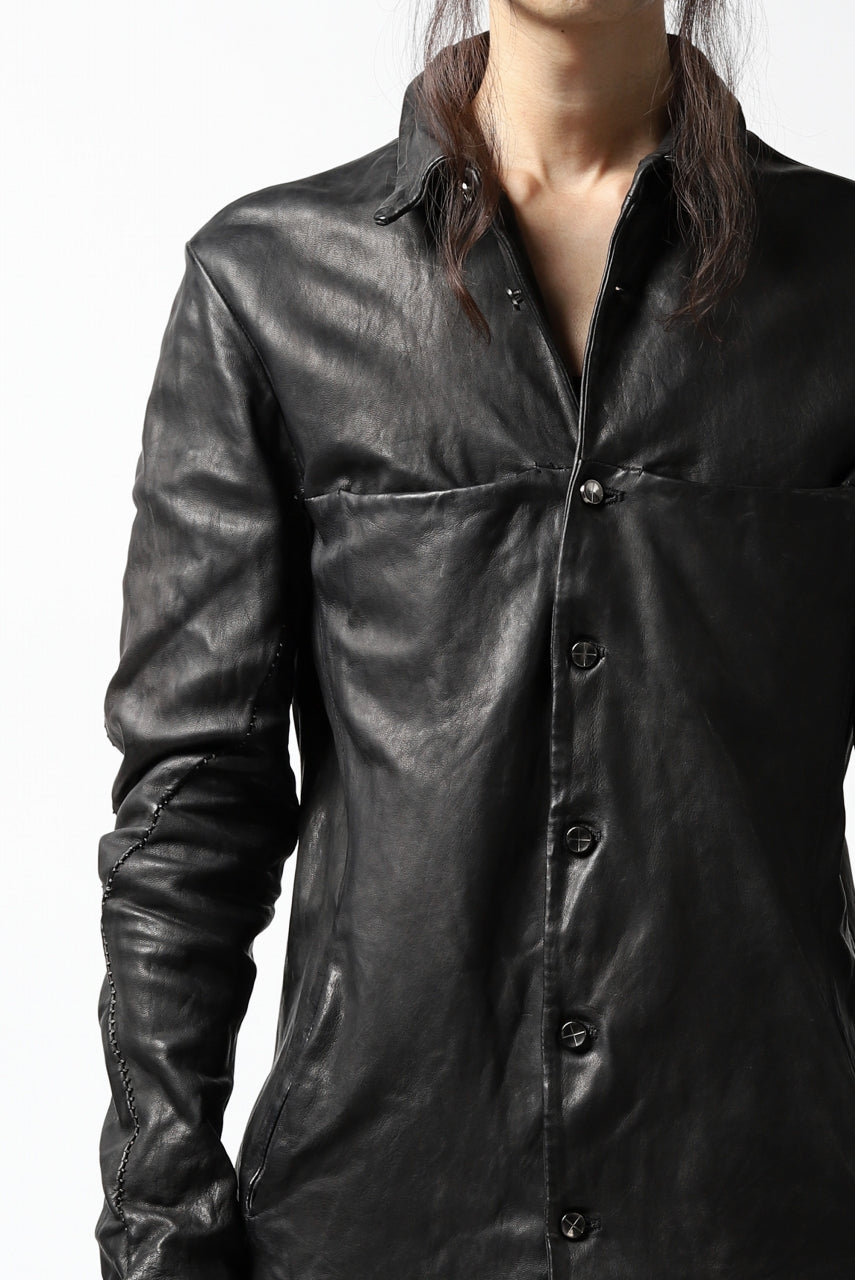 incarnation SHEEP LEATHER SHIRT JACKET / OBJECT DYED (BLACK)