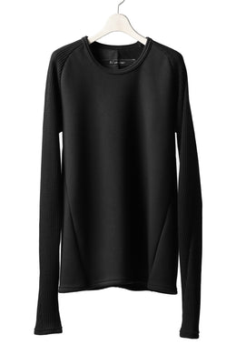 A.F ARTEFACT exclusive RAGLAN PULL OVER TOPS / BOMBERHEAT® x  WAFFLE (BLACK x BLACK)