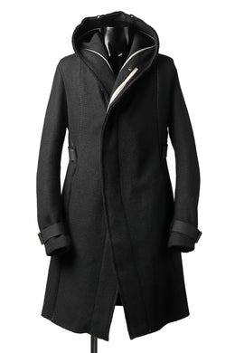 masnada HOODIE WRAP COAT with HARNESS BELT / TWEED LANA INTRECCIATA (BLACK)
