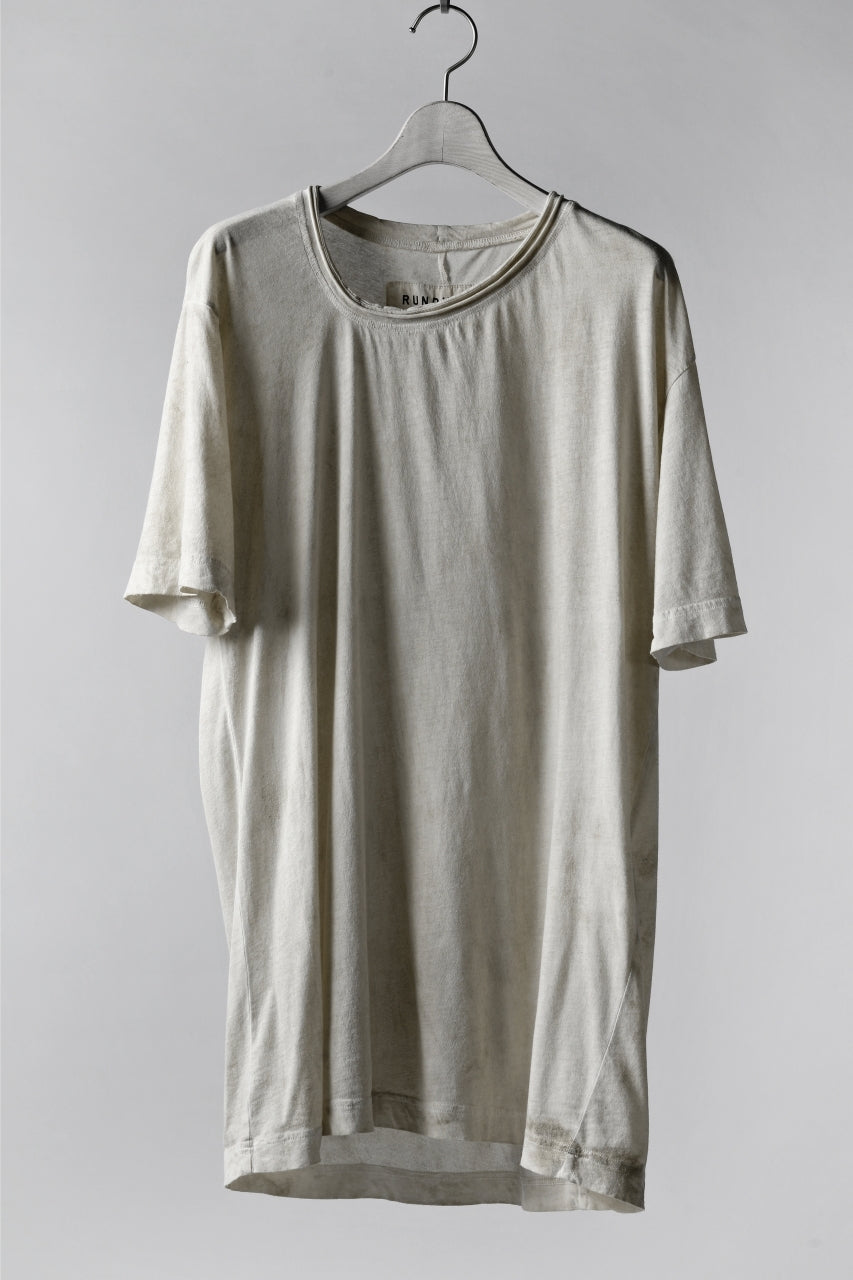 RUNDHOLZ DIP DISTORTED NECK T-SHIRT / DYED L.JERSEY (MARBLE)