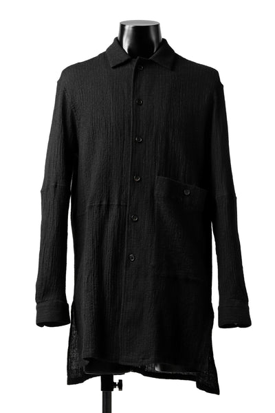 forme d'expression Long Wool Shirt with Pocket (Black)