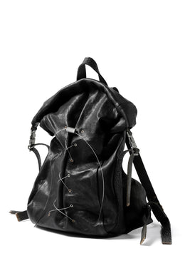 ierib roll top ruck sack / Oiled Horse Leather (BLACK)