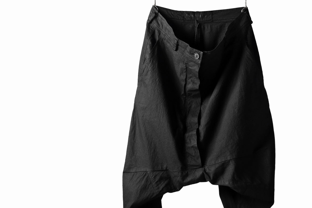 RUNDHOLZ DIP DROPCROTCH TAPERED PANTS / DYED COTTON TWILL (BLACK)