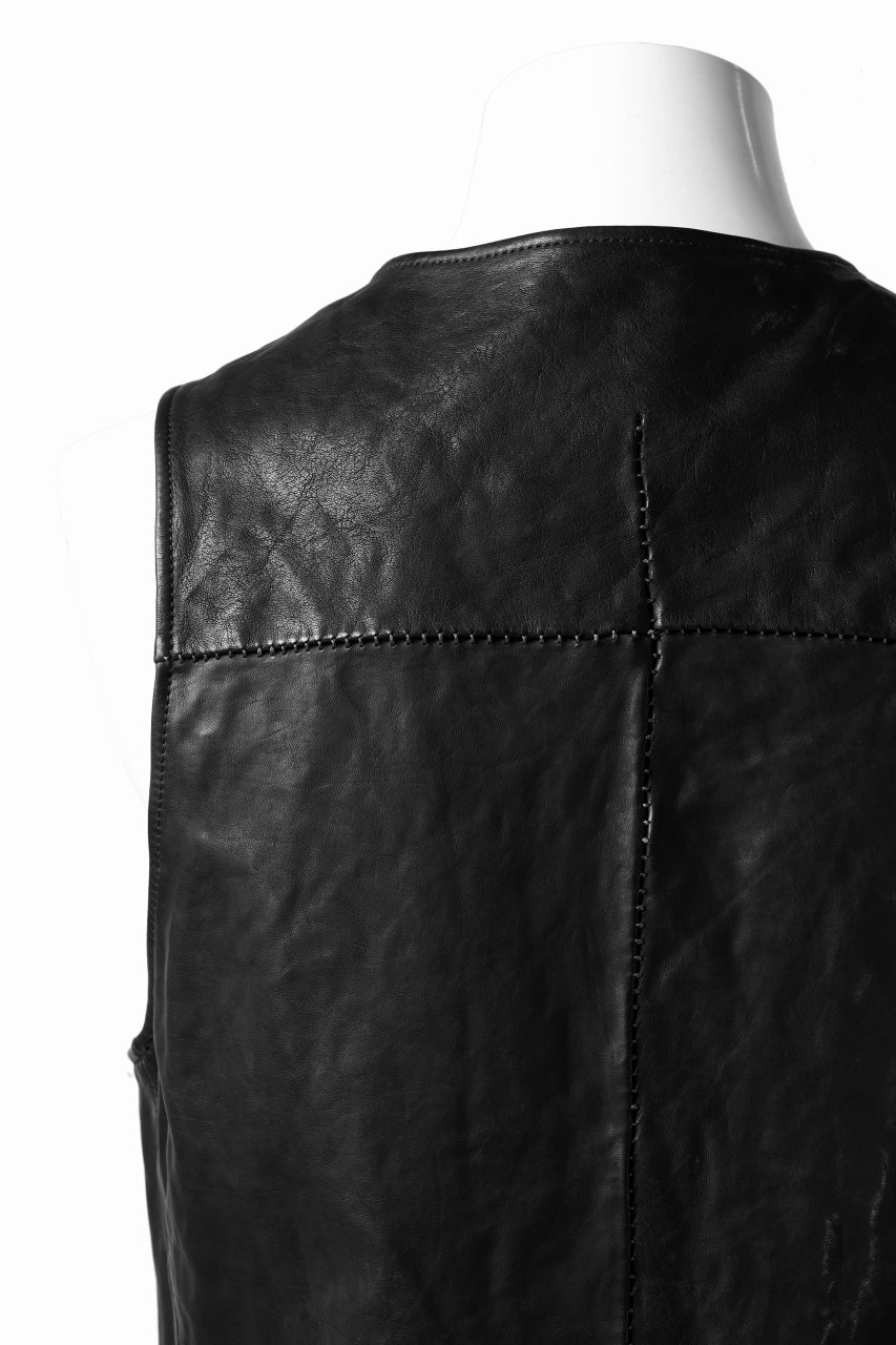 incarnation HORSE LEATHER 4-BUTTON VEST / OBJECT DYED (BLACK)