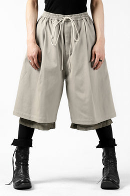 JOE CHIA WIDE TUCK/LAYER TROUSERS SHORT (TAUPE)