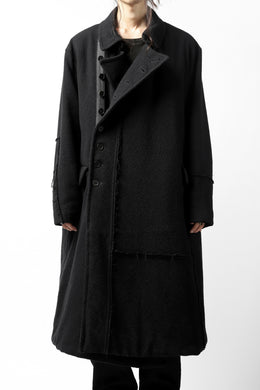 KLASICA HM-C DOUBLE BREASTED COAT with BONDED LINING / WOOLxSILK BOLD DUNGAREES (BLACK)