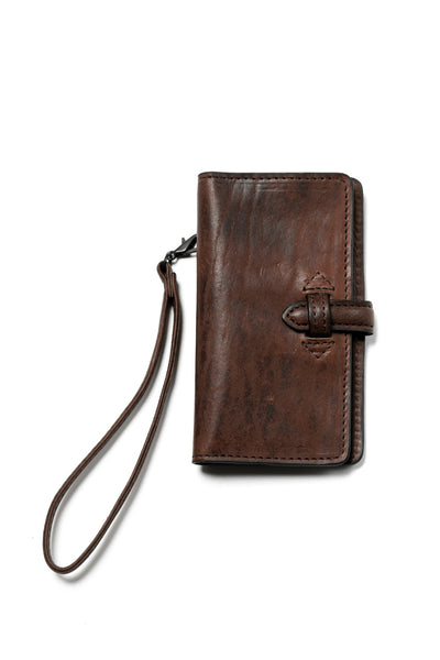 ISAMU KATAYAMA BACKLASH SMART PHONE CASE/PURSE / ITALY DOUBLE SHOULDER (DARK BROWN)