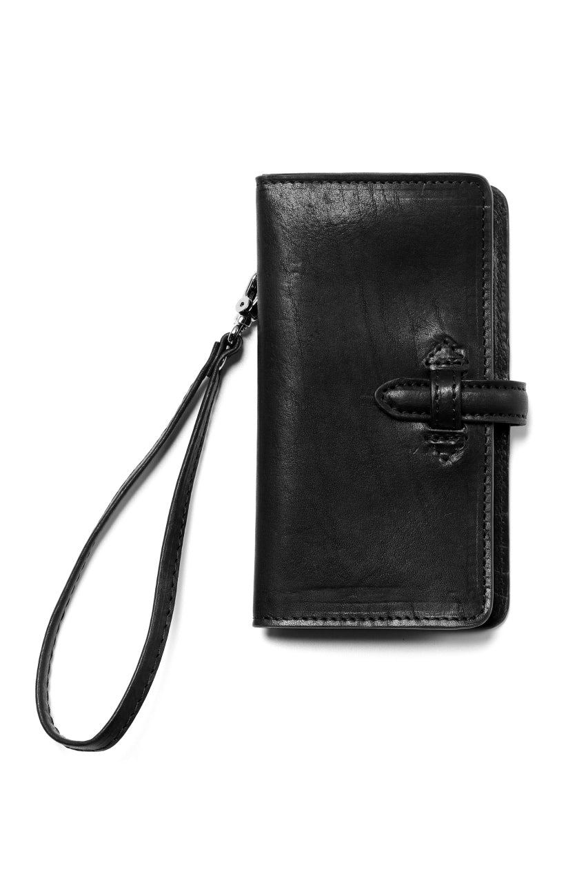 ISAMU KATAYAMA BACKLASH SMART PHONE CASE / PURSE LARGE / ITALY DOUBLE SHOULDER (BLACK)