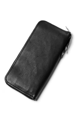 ISAMU KATAYAMA BACKLASH ROUND FASTNER WALLET / ITALY HORSE LEATHER (VACHETTA FINISHED / BLACK)