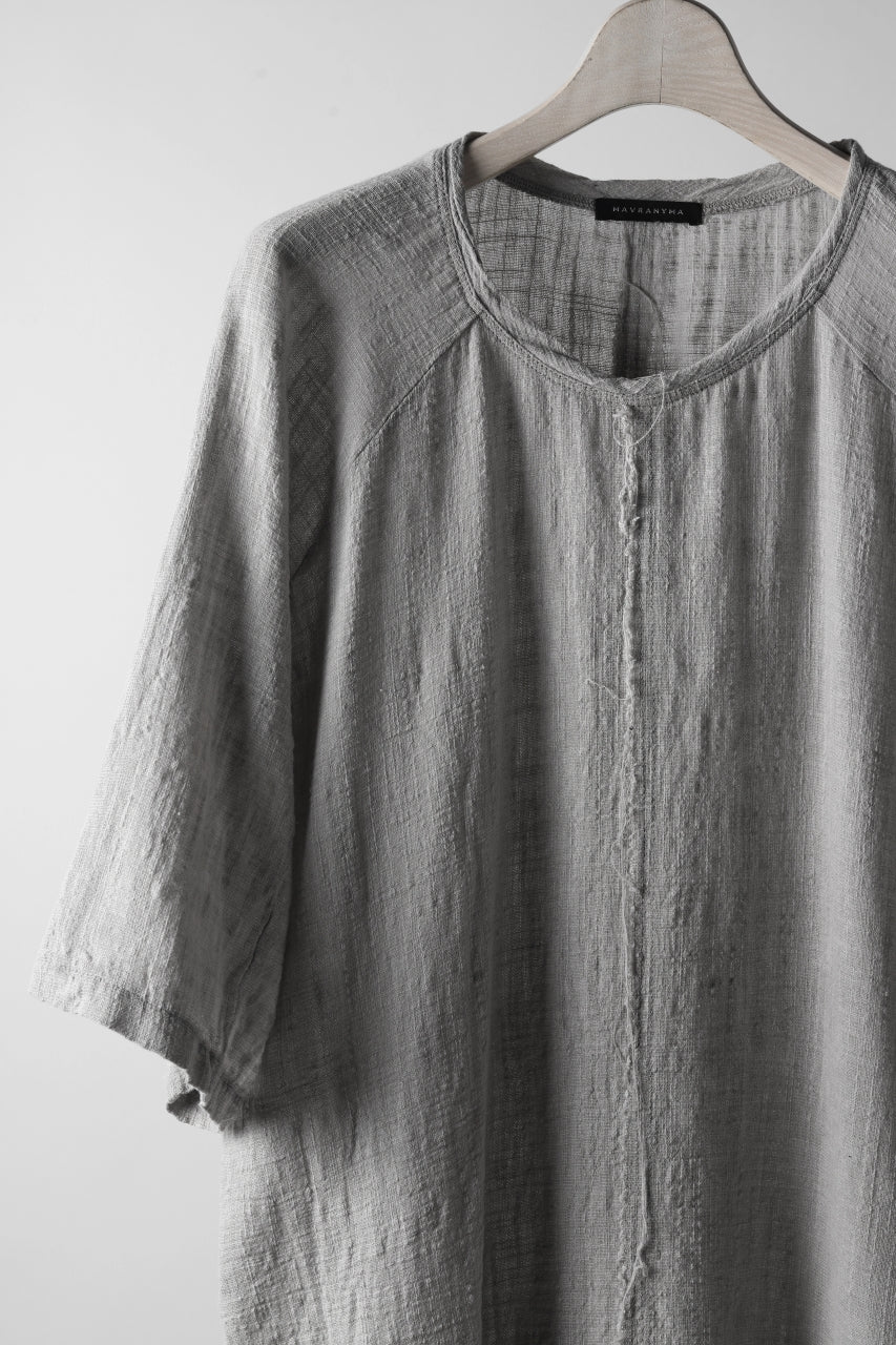MAVRANYMA RAGLAN H/S TUNICA TOPS / ORGANIC RAW COTTON (DYED GREY)