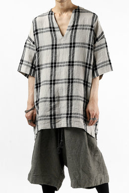 _vital exclusive collarless pullover shirt / linen-Plaid (BLACK x BEIGE)