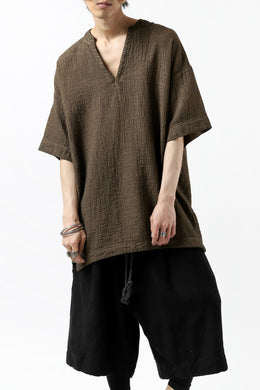_vital exclusive collarless pullover shirt / persimmon dyed linen (BROWN A)