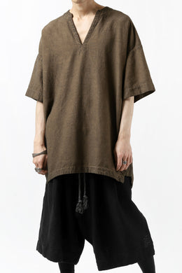 _vital exclusive collarless pullover shirt / persimmon dyed linen (BROWN B)